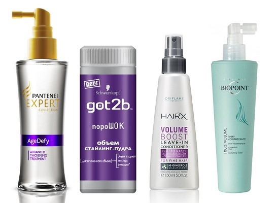 """Pantene Средство для утолщения волос Pro-V """"Expert Age Defy"""", Schwarzkopf Got2be Объем стайлинг-пудра """"Порошок"""", Спрей - кондиционер Oriflame «Эксперт-Максимальный объем» HairX Volume Boost, Спрей для волос придающий объем Biopoint Volume"""