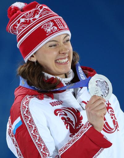 Ольга Вилухина, завоевавшая серебро в спринтерской гонке на соревнованиях по биатлону