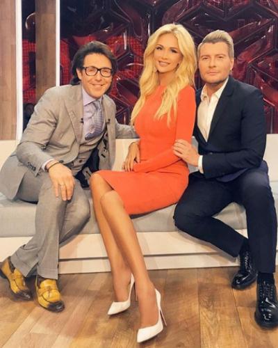 Виктория Лопырева и Николай Басков на съемках программы Андрея Малахова