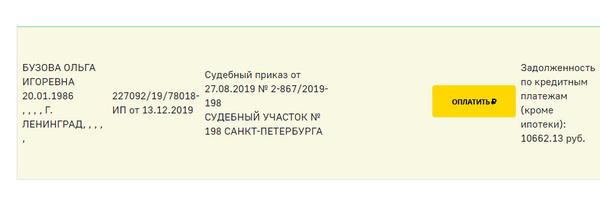 Задолженность Ольги
