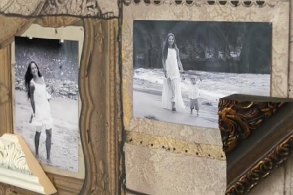В старинных рамах появились фотографии Юлии с детьми