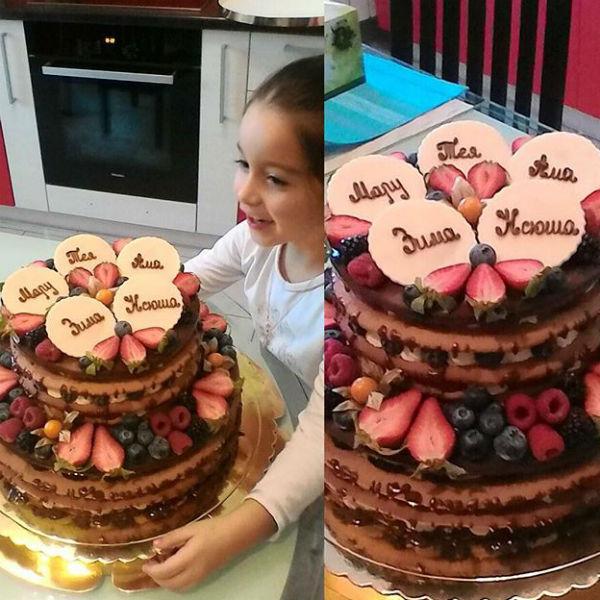 Семейный торт порадовал детей Ксении и Курбана