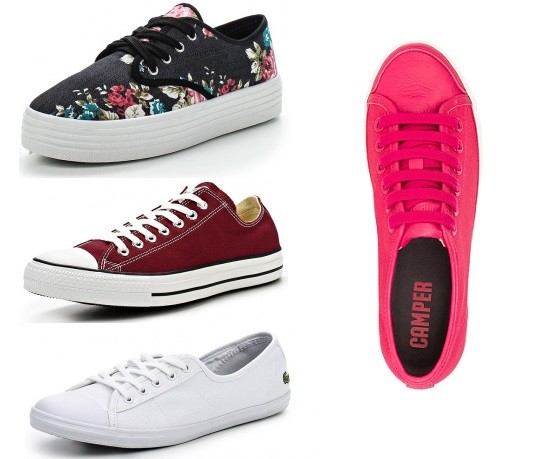 Слева: Burlesque, Converse, Lacoste. Справа: Camper