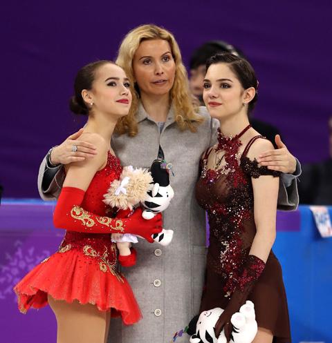 Алина Загитова, Этери Тутберидзе и Евгения Медведева