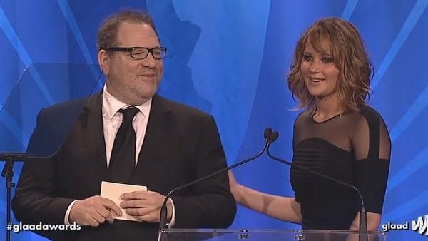 Харви Вайнштен и Дженнифер Лоуренс на вручении премии в 2013 году